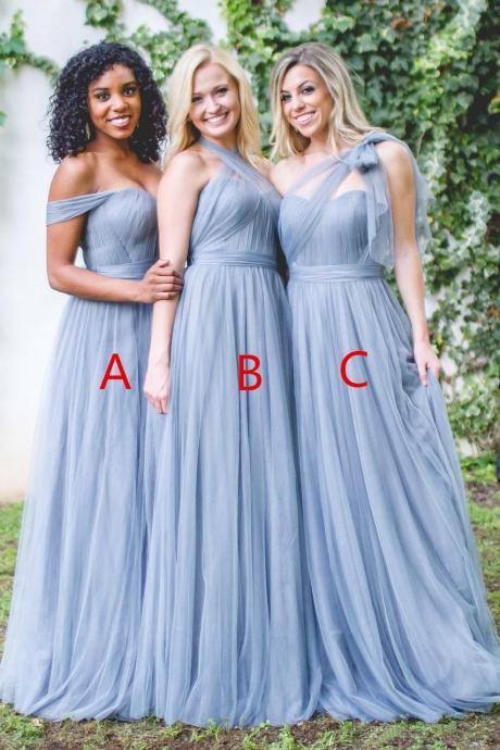 Western Country A Line Bridesmaid Dress,3 Style Plus Size Bridesmaid Dress,Blue Bridesmaid Dress,Cap Sleeve Halter One Sleeve Maid Of Honor Bridesmaid Dress