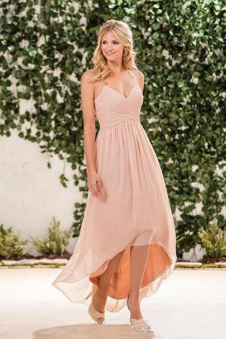 2018 Cheap Bridesmaid Dress,Blush Pink Bridesmaid Dress,High Low Halter Bridesmaid Dress,Wedding Guest Plus Size Maid Of Honor