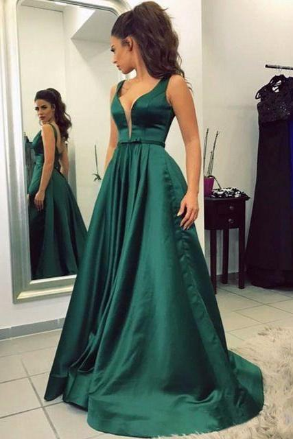 Dark Green Prom Dress,A Line Prom Dress,Satin Belt with Sleeves Long Prom Formal Evening Dress,Floor Length Prom Party Gowns,Open Back Long Prom Dress