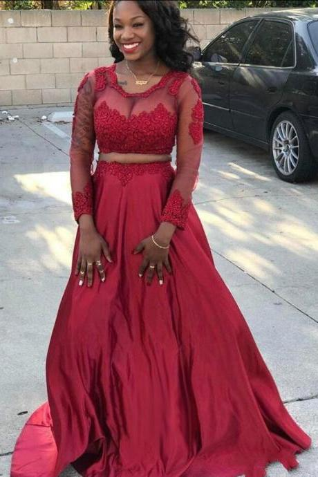 Women's Full Sleeves Long Prom Dress,High Quality Appliques Prom Dress,Burgundy Prom Dress,Two Piece Prom Dress,Plus Size Satin Prom Evening Dress
