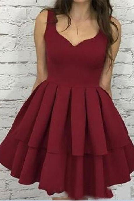 Sexy Burgundy Homecoming Dress,Ball Gown V Neck Satin Homecoming Dress,Open Back with Sleeves Homecoming Dress