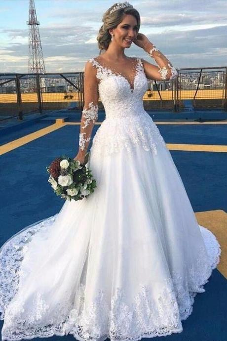 Ball Gown Wedding Dress,White Wedding Dress,2018 Luxury Bead Appliques Wedding Dress,Full Sleeves Wedding Dress for Women