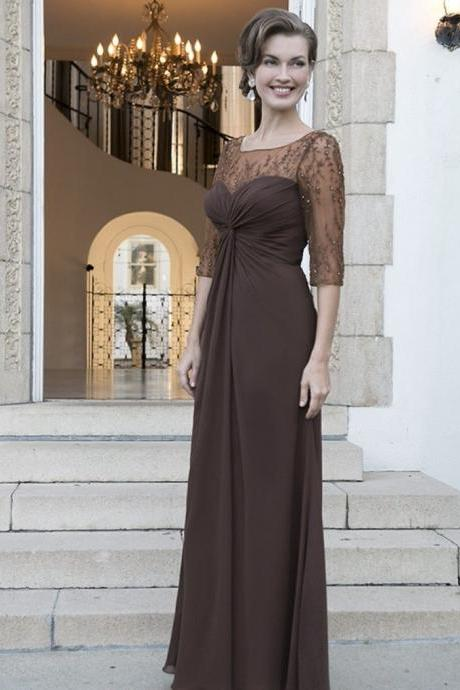2019 Top Selling Mother Of The Bride Dress,A Line Mother Of The Bride Dress,Illusion Neck Lace Bead Mother Of The Bride Dress,Keyhole Back Mother Of The Bride Dress,Sexy Ruched Sweetheart Mother Of The Bride Dress,Half Sleeves Mother Of The Bride Dress