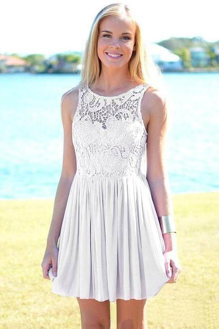 White Lavender Short Homecoming Dress,Lace Chiffon Homecoming Dress,Scoop Neck Party Graduation Homecoming Dress,Above Knee Homecoming Dress