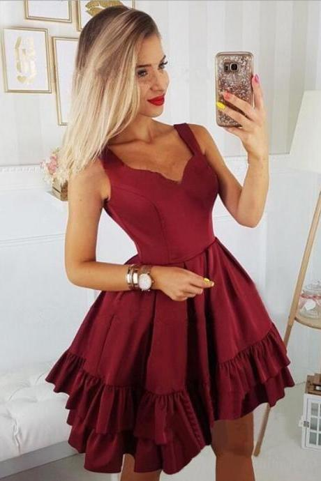 2019 Top Selling Burgundy Ball Gown Homecoming Dress,Sexy V Neck Homecoming Dress,Satin Homecoming Dress