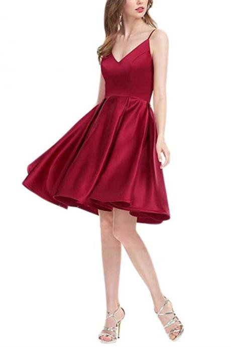 2018 A Line Burgundy Spaghetti Straps Open Back Satin Short Homecoming Dress