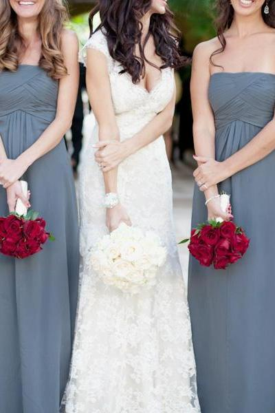 Gray Bridesmaid Dress, Long Bridesmaid Dress, Bridesmaid Dress, Floor-Length Bridesmaid Dress, Simple Bridesmaid Dress, Chiffon Bridesmaid Dress, Cheap Bridesmaid Dress