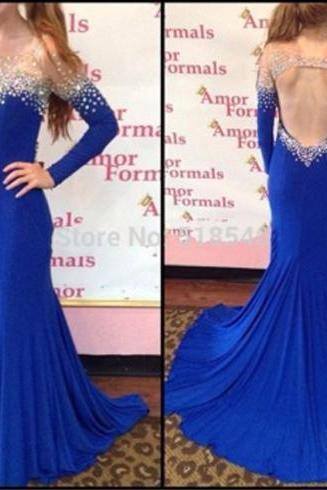 Royal Blue Prom Dress, Long Sleeve Prom Dress, Unique Prom Dress, Mermaid Prom Dress, Backless Prom Dress, Fantastic Prom Dress