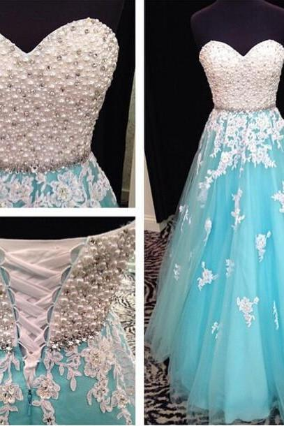 Blue Prom Dress, Sweet Heart Prom Dress, Lace Up Prom Dress, Lace Dress, Evening Dress, Rhinestone Prom Dress
