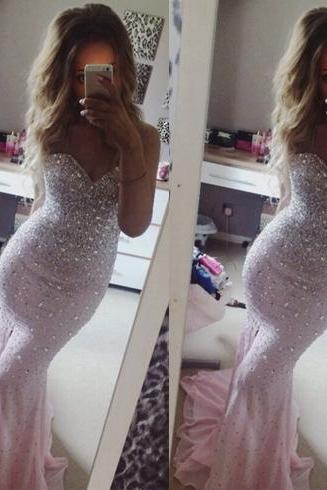 Mermaid Prom Dress, Pink Prom Dress, Sweet Heart Prom Dress, Evening Dress, Gorgeous Prom Dress, Affordable Prom Dress