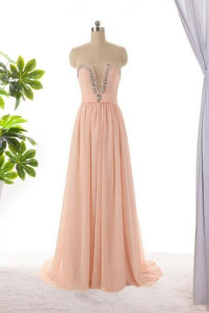 Pink Bridesmaid Dress, Long Bridesmaid Dress, Long Prom Dresses ,Beading Dress ,Evening Dress ,Formal Dress, Custom Dresses ,Blush Pink Dress