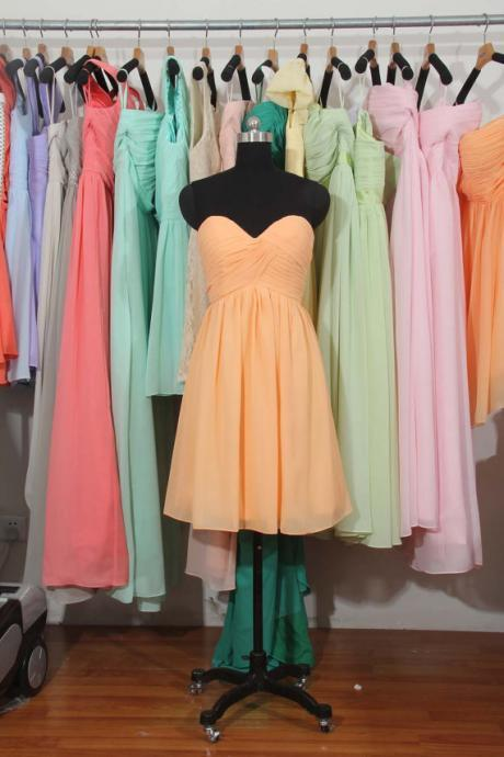 Peach Bridesmaid Dress, A-Line Bridesmaid Dress,Sweetheart Short Bridesmaid Dress, Chiffon Bridesmaid Dress,Bridesmaid Dress