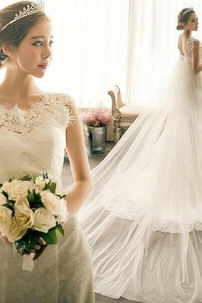 2015 Mermaid Lace Wedding Dress Fishtail Wedding Dress Transparent Elegant Church Ceremony Wedding Dress Long Trailing Wedding Dress