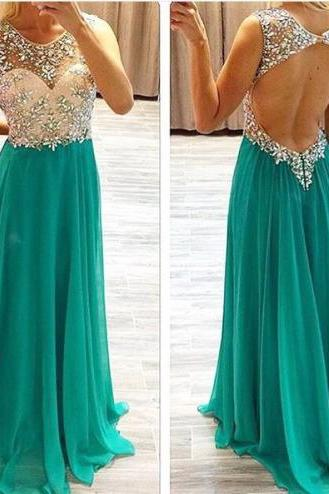 Custom High Quality Prom Dress,A-Line Prom Dress,O-Neck Prom Dress,Chiffon Prom Dress, Beading Prom Dress