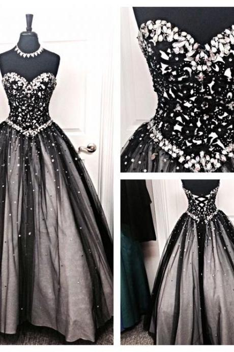 Amazing Black Prom Dress,Sweetheart Prom Dress,Crystal Beaded Prom Dress,Embroidery Prom Dress,Tulle Prom Dress,Prom Ball Gowns,Ball Gown Dresses,Party Dress,Party Ball Gown Dress