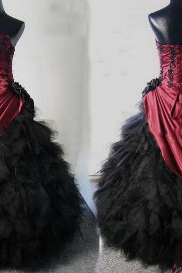 Stylish Burgundy and Black Quinceanera Dress,Strapless Quinceanera Dress,Appliques Quinceanera Dress,Lace-up Back Quinceanera Dress, Satin and Tulle Quinceanera Dress, Debutante Gown,Masquerade Ball Gowns,Ball Gown Dresses