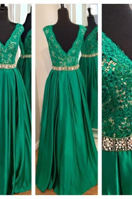 Glamorous Prom Dress,Green Prom Dress,Lace Prom Dress,Beaded Prom Dress,Cap Sleeve Prom Dress,Long Prom Dress,Prom Ball Gowns,V-Neck Prom Dress,Satin Prom Dress,Prom Dress Plus Size,Prom Dress Costume,Prom Dress with Waistband