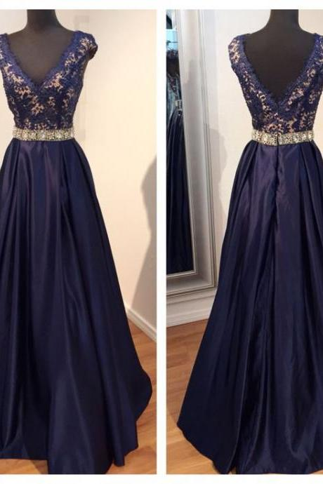 Glamorous Prom Dress,Navy Blue Prom Dress,Lace Prom Dress,Beaded Prom Dress,Cap Sleeve Prom Dress,Long Prom Dress,Prom Ball Gowns,V-Neck Prom Dress,Satin Prom Dress,Prom Dress Plus Size,Prom Dress Costume,Prom Dress With Waistband