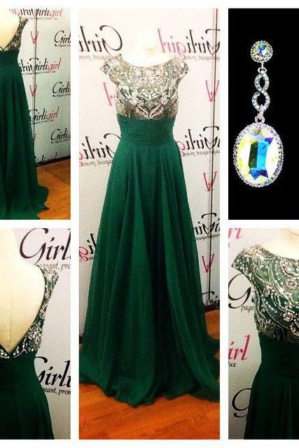 Gorgeous Prom Dress,Green Prom Dress,Crystal Beaded Prom Dress,Cap Sleeve Prom Dress,Open Back Prom Dress,Long Prom Dress,Prom Dress Costume,Prom Dress Plus Size ,Prom Dress for Women ,Prom Dress for Wedding Party