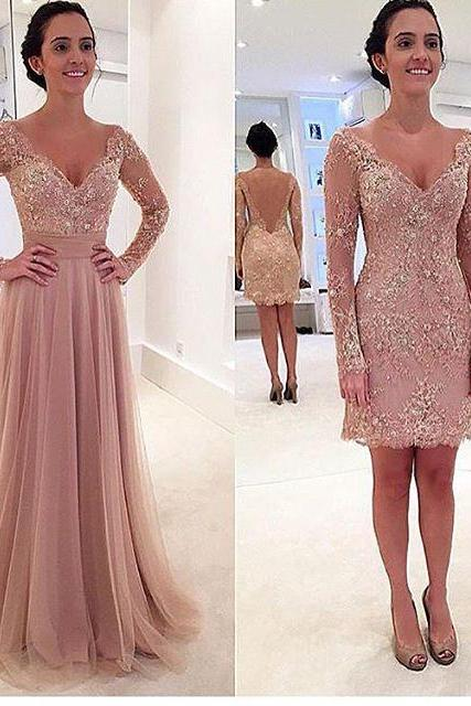 Charming Prom Dress,Long-Sleeves Prom Dress,A-Line Prom Dress,V-Neck Prom Dress,Noble Appliques Prom Dress