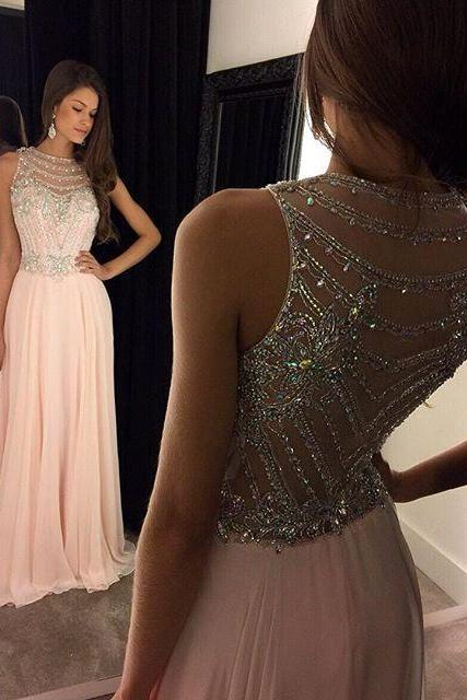 Charming Prom Dress,Chiffon Prom Dress,O-Neck Prom Dress,Beading Prom Dress,A-Line Prom Dress