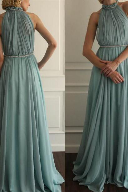 Charming Prom Dress,Chiffon Prom Dress,A-Line Prom Dress,High-Neck Prom Dress,Pleat Prom Dress