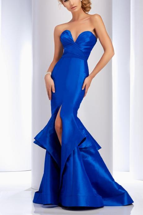 Royal Blue Mermaid Evening Dress, Long Satin Cocktail Dress ,Slit Evening Dress 2016 Slit ,Open Back Evening Gowns,Prom Dress ,Formal Dress,Pageant Dress ,Celebrity Dress,Wedding Party Dress