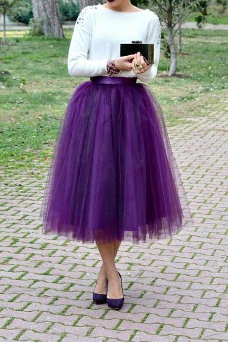 Charming Women Skirt,Tulle Skirt,Spring/Autumn Skirt,Fashion Street Style Skirt