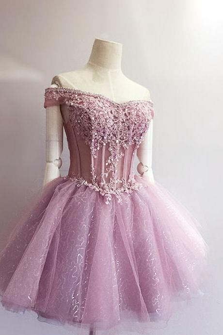 Charming Homecoming Dress,Appliques Homecoming Dress,Organza Homecoming Dress, Short Homecoming Dress