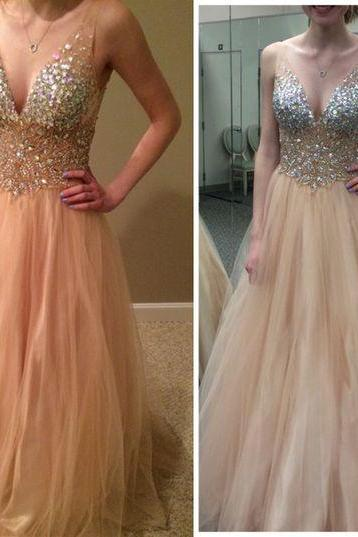 Sexy V Neck Crystal Beaded Prom Dress ,Long Prom Dress ,Floor-length Prom Dress ,Party Dress ,Evening Dress ,Party Gown,Long Homecoming Dress ,Formal Dress