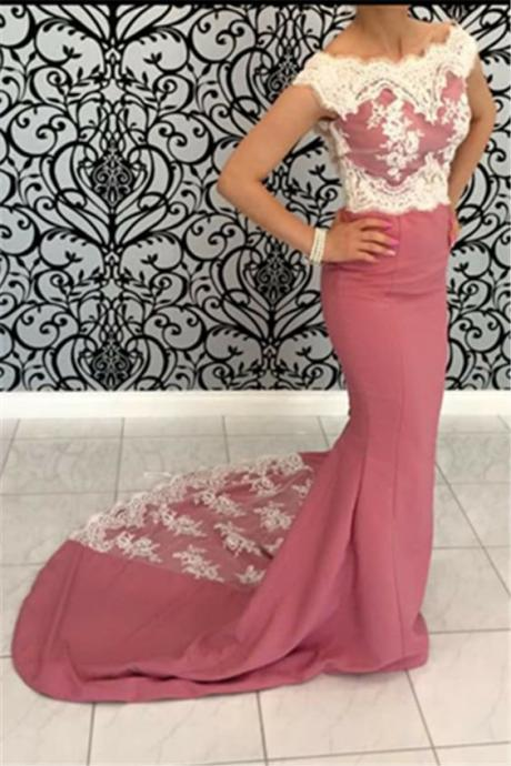 Lace prom dresses,prom dresses long,Pink mermaid evening gowns