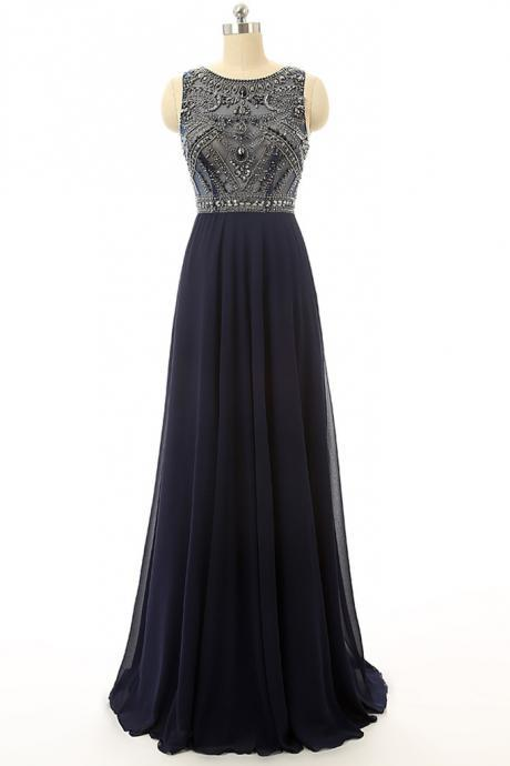 Cheap Prom Dress ,Navy Blue Beaded Long Graduation Dresses ,Long Evening Dress ,Homecoming Dress ,Formal Dress,Party Gowns