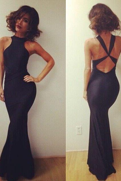 Sexy Black Prom Dress,Vestido De Festa, Evening Party Dress,Cheap Prom Dress,Simple Prom Dress,Women Maxi Dress