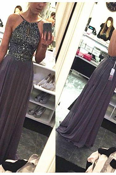 Grey Halter Crystal Beaded Top Backless Long Chiffon Prom Dress ,Sexy Prom Dress ,Prom Dress for Juniors ,Homecoming Dress Long ,Prom Dress for Teens ,Long Evening Dress ,Formal Gowns ,Long Party Dress