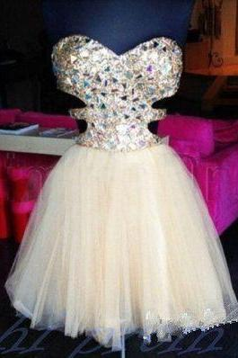 Sparkly Crystal Beaded Homecoming Dress,Short prom Dress for Juniors,Homecoming Gowns,Short Party Gowns,Cocktail Dress,Short Evening Party Gowns