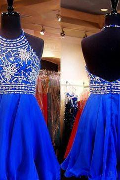 Charming Halter Beaded Bodice Short Homecoming Dress,Short Chiffon Prom Dress Backless ,Homecoming Gowns,Cocktail Dress,Short Party Dress,Short Evening Gown,Graduation Dress
