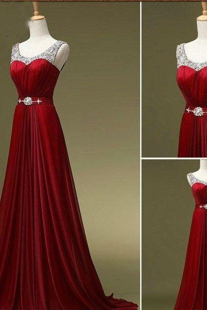 Prom Dress,Red Prom Dress,Discount Prom Dress,Custom Prom Dress,Beaded Prom Dress,Chiffon Prom Dress,2016 Prom Dress,Handmade Prom Dress,Long Prom Dress,Dress For Prom