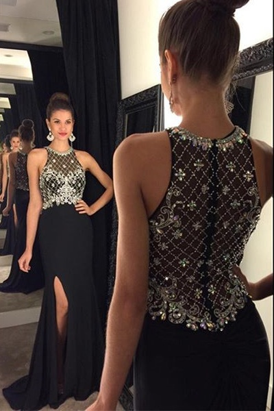 High Quality Prom Dress,Beaded Chiffon Prom Dress,Formal prom Dress,Prom Dress 2017,black Evening Dress,side slit Prom Gowns
