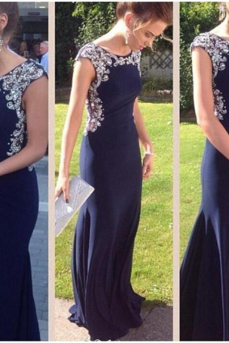 long Prom Dresses,2016 Evening Gown,dark navy Prom dress,mermaid prom dress,formal evening dress, charming party dress