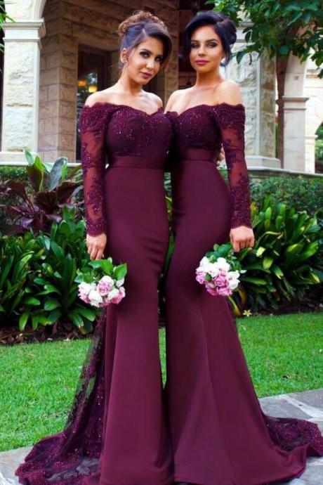 Custom Made Purple Off-Shoulder Long Sleeve Lace Floor Length Bridesmaid Dress with Lace Applique and Beading