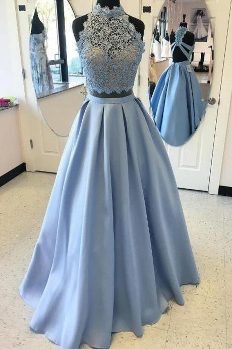 Charming Prom Dress,A-Line Prom Dress,Satin Prom Dress,Noble Prom Dress,Lace Prom Dress,High Neck Prom Dress,2017 Evening Dress,Party Dress,Formal Women Dress