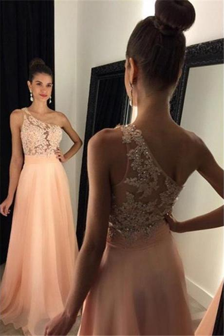 Prom Dress, One Shoulder Prom Dress, Sleeveless Prom Dress, Chiffon Prom Dress, A-line Prom Dress, Beading Prom Dress, Sexy Prom Dress, Evening Dress, Long Evening Dress, Evening Gown, Party Dress