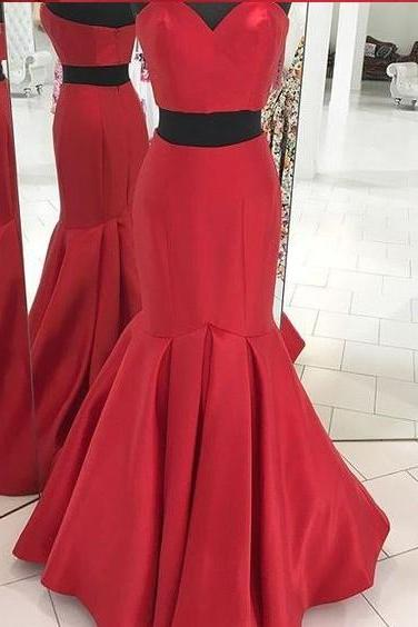 Two Pieces Prom Dress Red Formal Evening Long