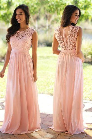 Charming Prom Dress,Pink Prom Dress,Pink Bridesmaid Dresses,Pink Maxi Dresses,Lace Prom Gowns,Chiffon Evening Dress,Bridesmaid Dresses 2017,Cheap Evening Gowns,A line Evening Dress