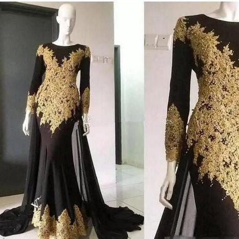 Gold Appliques Mermaid Prom Dresses 2018 New Jewel Neck Long Sleeve With Wrap Formal Evening Party Gown Custom Made