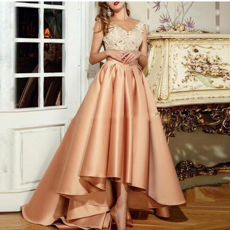High Quality Elegant High Low Evening Dress 2018 New With Appliques Lace Long Sheer Back Robe De Soiree A-Line vestido de festa