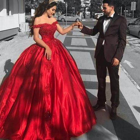 Fashion Corset Quinceanera Dresses Off Shoulder Red Satin Formal Party Gowns Sweetheart Sequined Lace Applique Ball Gown Prom Dresses