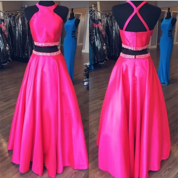 New Arrival Long Prom Dress,Real Photos Halter Satin Prom Dress,High Quality Bead Prom Dress,Sexy Backless Prom Dress,Fuchsia Prom Dress,Plus Size Prom Dress for Women
