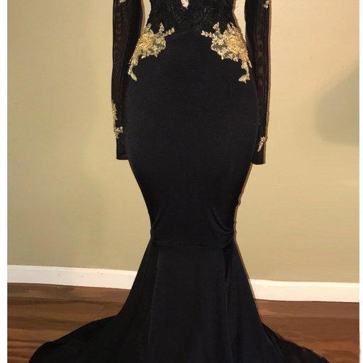 Fabulous Mermaid Long Prom Evening Dress,Full Sleeves Evening Dress,Sexy Deep V Neck Evening Dress,Black Satin Evening Dress,Gold Appliques Evening Dress