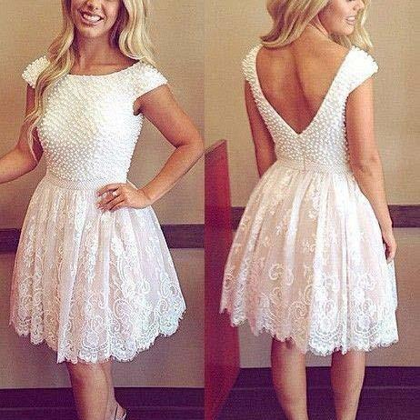 Girl's Cute Scoop Neck Open Back Cap Sleeves Short Homecoming Dress,High Quality Bead Lace Knee Length Homecoming Prom Dress